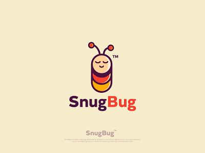 SnugBug snug sleeping bug branding vector cartoon logo logo illustration flat logodesign