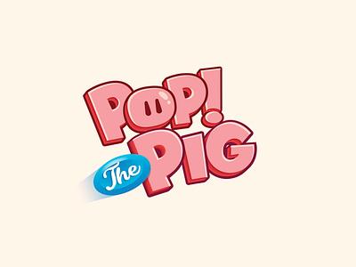 Pop The Pig! toy toys colorful casino title vector typography logo design board game ui illustration kids logo title design game branding 3d title game title branding boardgames cartoon logo boardgame game logo