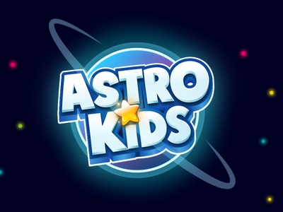 Astro Kids kids logo cartoon logo illustration 3d logo mobile game boardgames boardgame title design