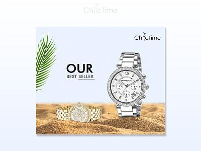 Chic Time Banner Design diamond watch branding brand logo design bannerbazaar banner bazaar google ad banner creative banner banner social media banner