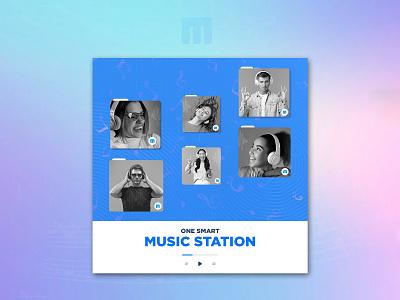 Smart Music Station Banner Design concept creative station music logo illustration design bannerbazaar banner bazaar google ad banner creative banner banner social media banner