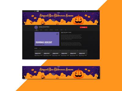 Halloween Season Banner Design season horror concept creative advertisement logo illustration design bannerbazaar banner bazaar google ad banner creative banner banner social media banner
