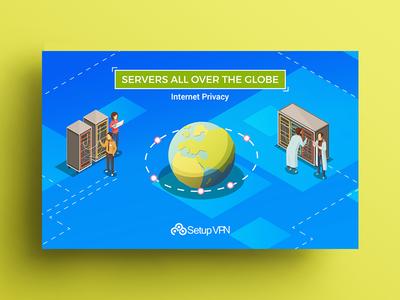 Servers allover the Globe - banner design