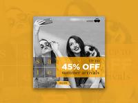 45% off summer arrivals - banner design