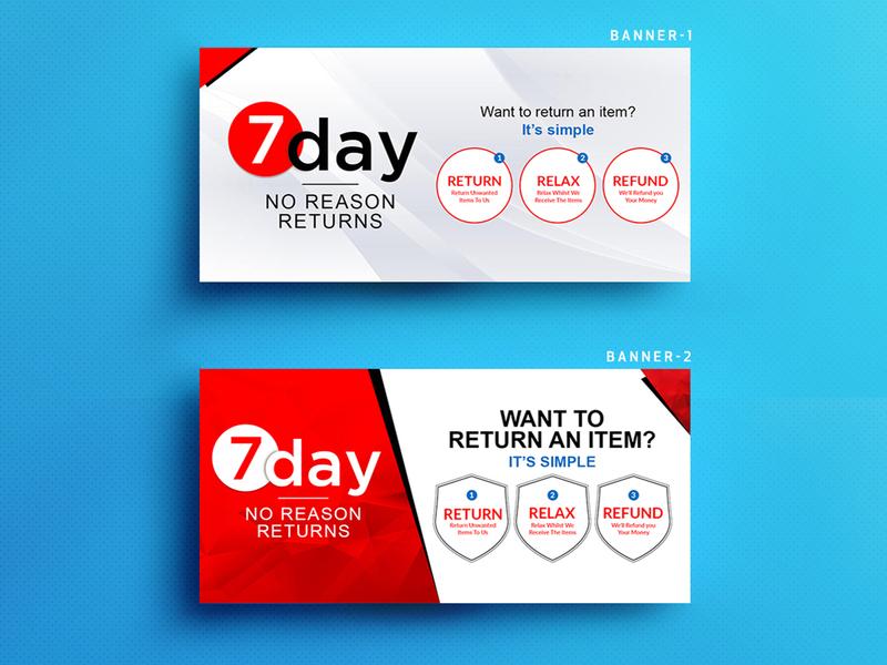 7 Day No Reason Returns bannerbazaar banner design banner design banner bazaar cover sale banner small creative banner google ad banner social media banner