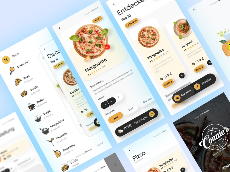 Restaurant App Screen marketing app landing ui minimal clean agency business creative designer design app design app