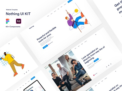 Nothing UI Kit - Templates For Website [Figma] app landing template app design marketing app landing minimal design creative business clean agency