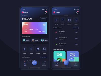 PayFast - Digital Banking payment glassmorphism mobile design mobile app mobile ui apps ui card bank app dark ui dark app ui  ux design