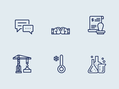 Chemicals, Construction And Communication Icon Set