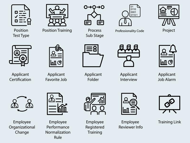 Employee Icon Set mark type icons typography app icons identity set app design icon