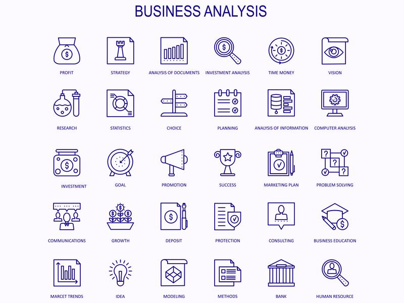 Business Analysis Icon Design type icons typography app set design icon