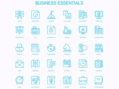 Business Essentials Icon Design