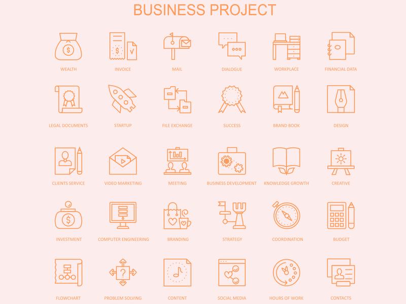 Business Project Icons Design type mark typography branding app icons identity icons app set design icon