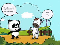 Panda goes to Mrs Cow!