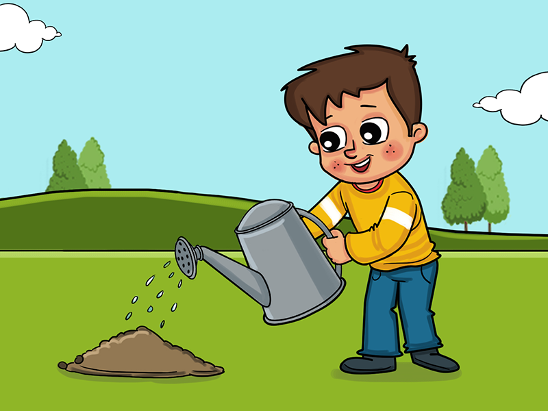 Boy Giving Water To Plant Story Illustration boy illustration kid cute illustration tree plant book illustration story illustration