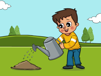 Boy Giving Water To Plant Story Illustration
