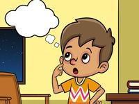 Boy Thinking Story Illustration