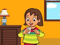 Cute Girl Is Drinking Milk Illustration