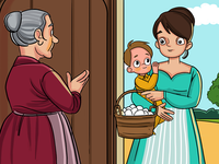 Girl With Child - Story Illustration