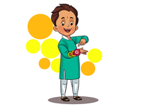 Boy Showing His Rakhi - Illustration