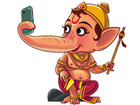Lord Ganesha Is Taking Selfie - Story Illustration