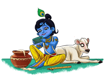 God Krishna Using Phone Illustration