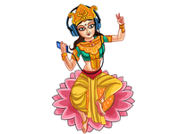Illustration Of Goddess Saraswati Listening Songs