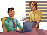 Man And Woman In Office Illustration