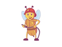 Fire Brigade Bee Illustration