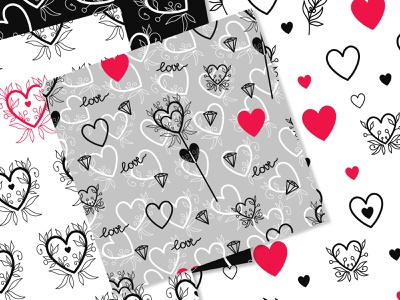St Valentine romantic design vintage hearts patterns hearts lovely patterns lovely fabric pattern fabric design vector art valentines valentine day multicolored-pattern a series of patterns