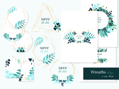 Wreaths and cards green design spring design vector art banners tags save the date card save the date invitation invite golden wreaths golden design geometrical wreaths leaves wreaths wreaths design graphic design leaves design leaves templates cards wreath