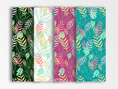 LeavesPatternSet gray-leaves yellow-leaves pink-leaves green-leaves multicolored-leaves multicolored-pattern design symbol