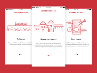 Tourism app onboarding iphone ios simple illustration intro onboarding app tourism