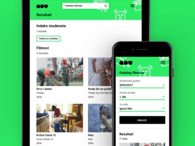 Educational online film catalogue – Responsive tablet mobile responsive rwd film academy catalogue online