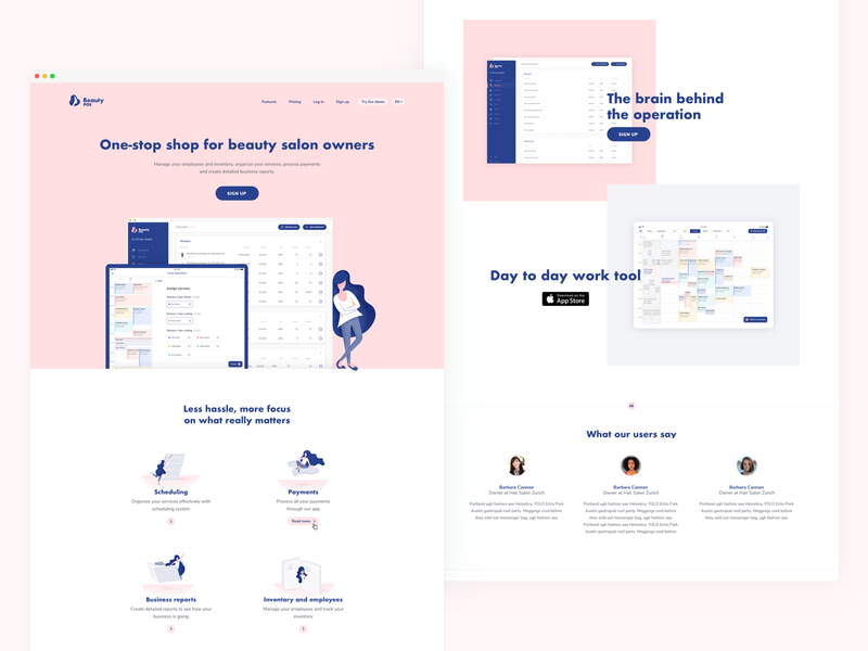 Beauty POS Landing Page landing page design page landing web startup management beauty app