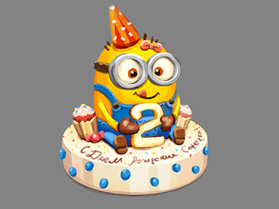 Sketch cake for my daughter) minion art cake