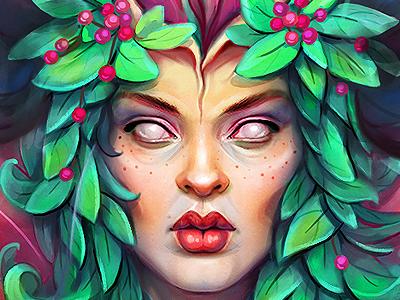 flower virgin character drawing girl art illustration