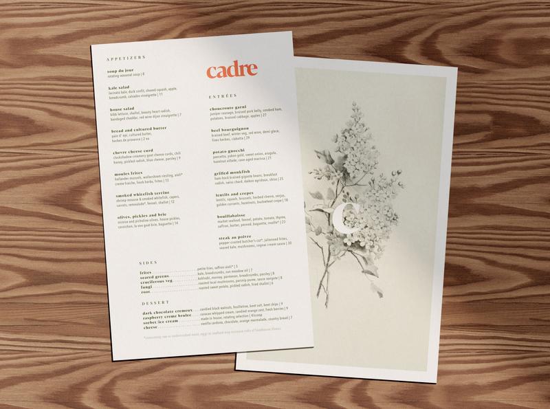 Cadre Menus restaurant menu design brand identity print collateral print typogaphy type graphic design branding identity art direction design restaurant branding restaurant logo restaurant menu design