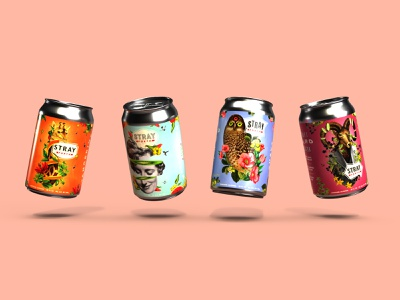 Stray Forth Craft Hard Seltzer 12oz Cans art direction planet propaganda identity collage can design packaging design packaging branding design