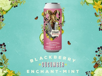 Stray Forth Blackberry Cucumber Enchant-Mint design collage planet propaganda packaging packaging design identity branding can design art direction