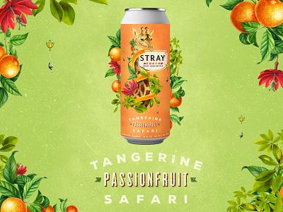 Stray Forth Tangerine Passionfruit Safari planet propaganda packaging design packaging identity collage design art direction can design branding