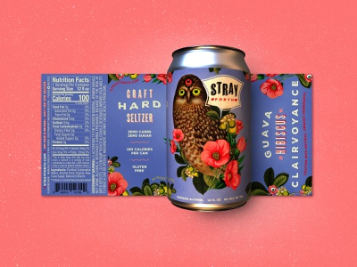 Stray Forth Guava Hibiscus Clairvoyance planet propaganda illustration packaging design packaging identity collage design art direction can design branding