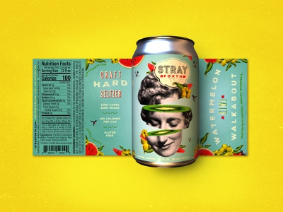 Stray Forth Watermelon Kiwi Walkabout planet propaganda illustration packaging design packaging identity collage design can design art direction branding