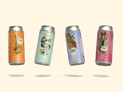 Stray Forth Craft Hard Seltzer 16oz Cans planet propaganda illustration art direction packaging design packaging identity design collage can design branding