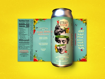 Stray Forth Watermelon Kiwi Walkabout 16 oz. art direction planet propaganda illustration packaging design packaging identity design collage can design branding