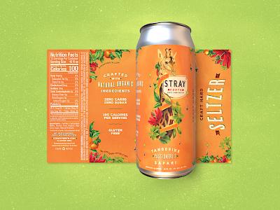 Stray Forth Tangerine Passionfruit 16 oz. art direction planet propaganda illustration packaging design packaging identity design collage can design branding