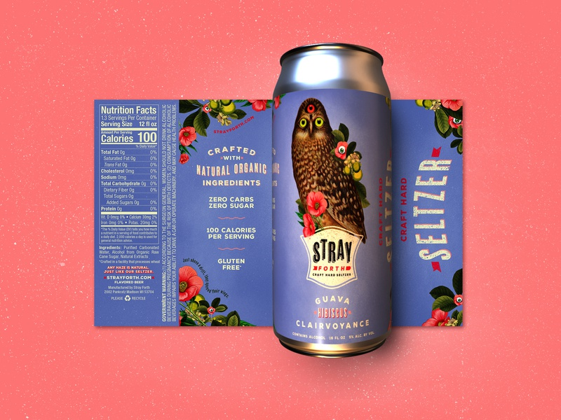 Stray Forth Guava Hibiscus Clairvoyance 16 oz. art direction planet propaganda illustration packaging design packaging identity design collage can design branding