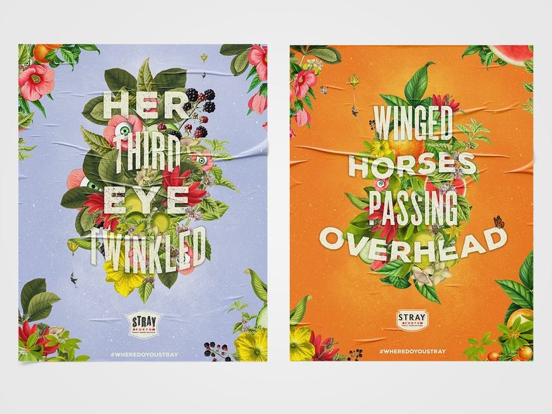 Posters for Stray Forth Craft Hard Seltzer type graphic design typography posters poster design art direction illustration planet propaganda identity design collage branding