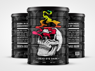 Death Before Decaf: Dead Eye Dark student work student project coffee packaging coffee design coffee branding coffee logo typography type graphic design illustration packaging design packaging can design identity design branding art direction