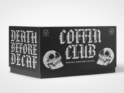Death Before Decaf: Coffin Club Subscription Box subscription box student work student project logo coffee packaging coffee design coffee branding coffee typography type graphic design illustration packaging design packaging identity design branding art direction
